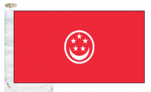 Singapore Civil Red (Merchant) Ensign Courtesy Boat Flags (Roped and Toggled)